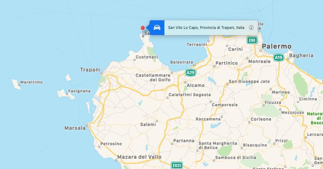 Mappa di San Vito Lo Capo, Sicilia