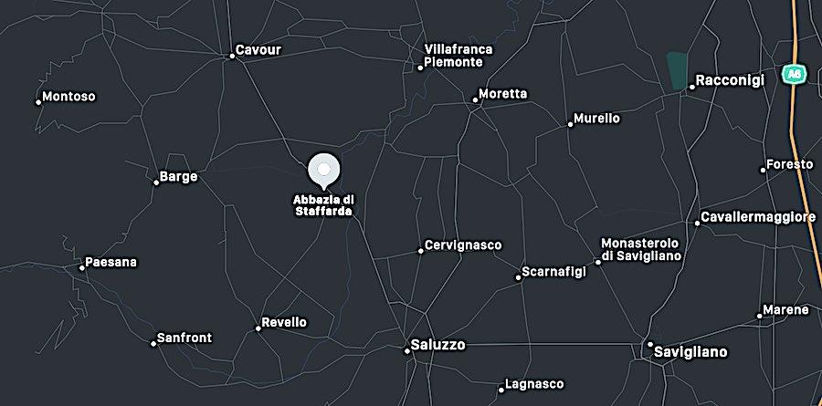 Abbazia di Staffarda, mappa