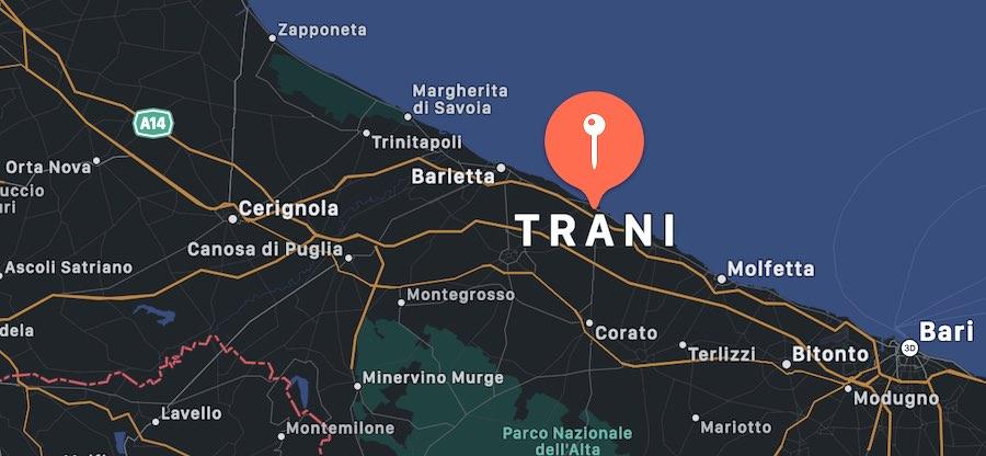 Cosa vedere a Trani, mappa