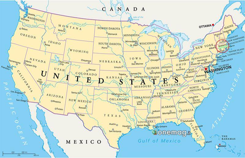 Cosa vedere a Boston, mappa degli Stati Uniti