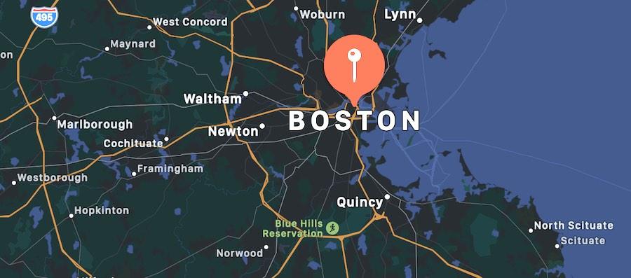 Cosa vedere a Boston, mappa