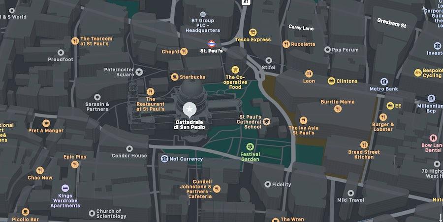 Cattedrale di San Paolo di Londra, mappa