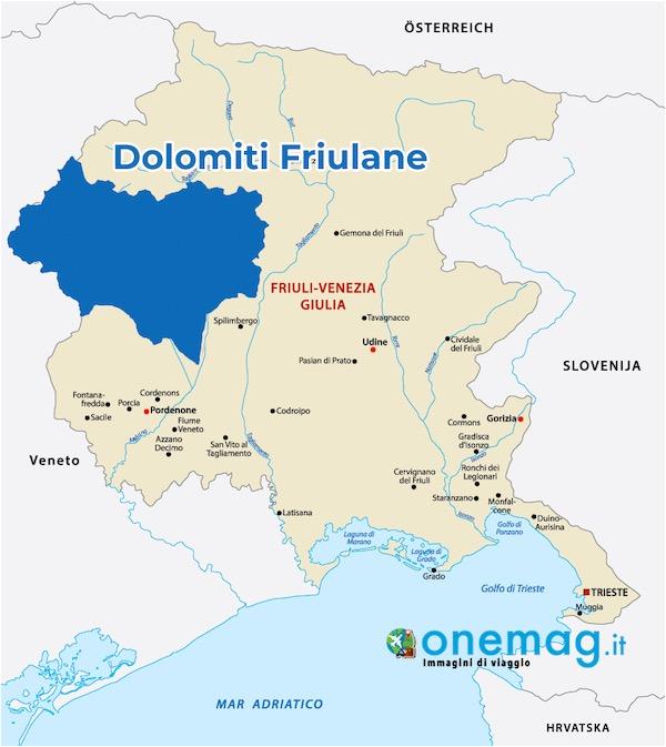 Mappa delle Dolomiti Friulane