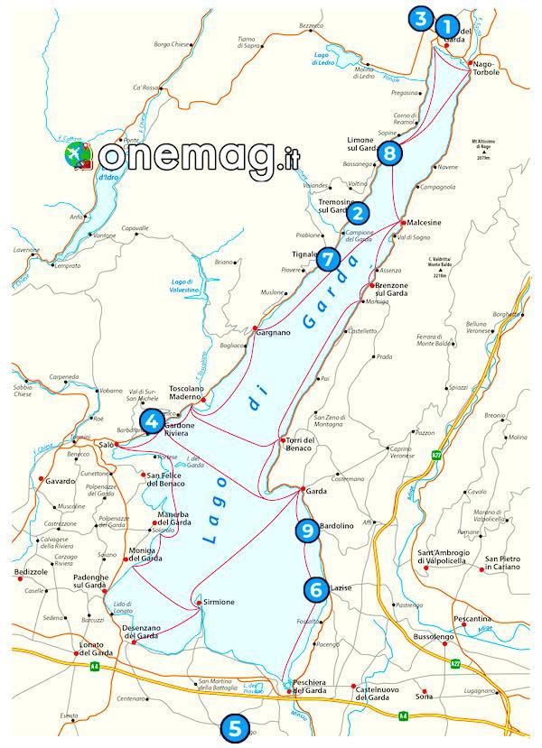 Mappa dei borghi sul Lago di Garda