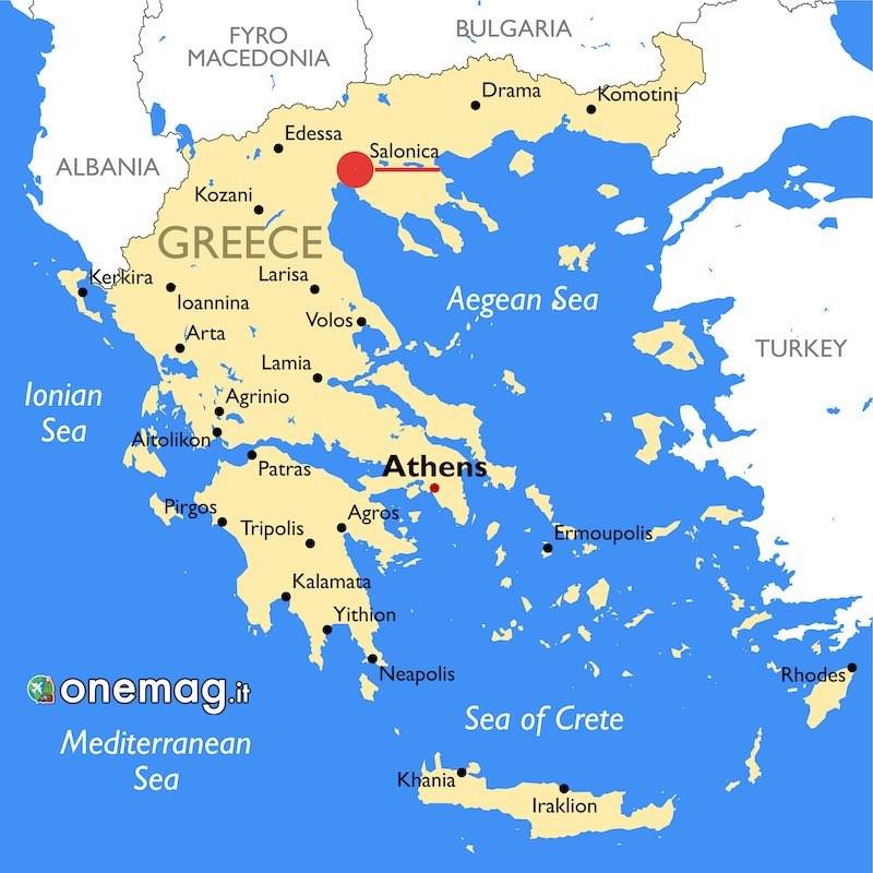 Cosa vedere a Salonicco, mappa