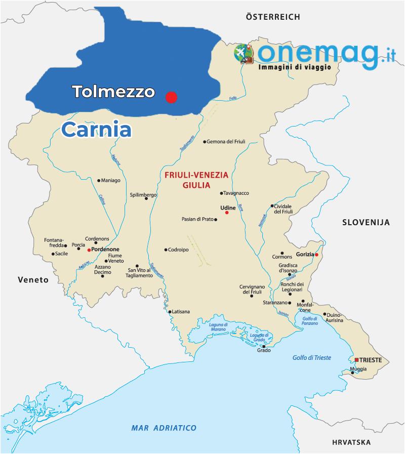 Cosa vedere a Tolmezzo, mappa