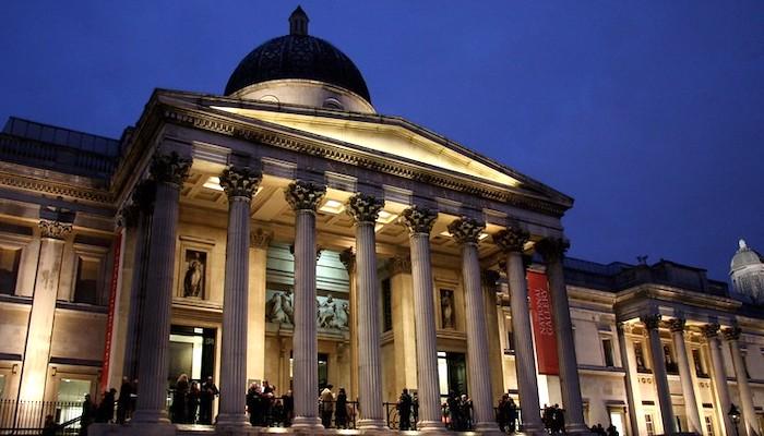 La National Gallery Londra, veduta notturna