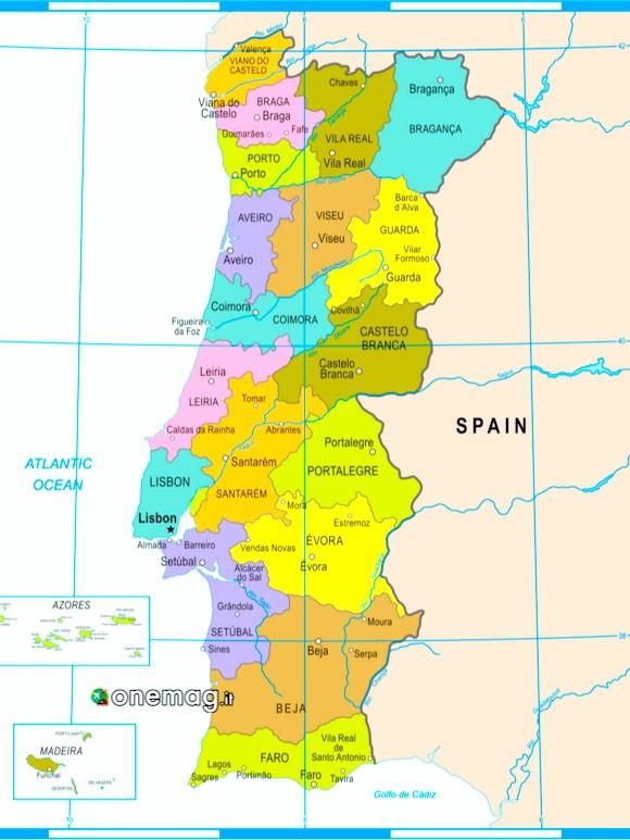 Le città da visitare in Portogallo, mappa