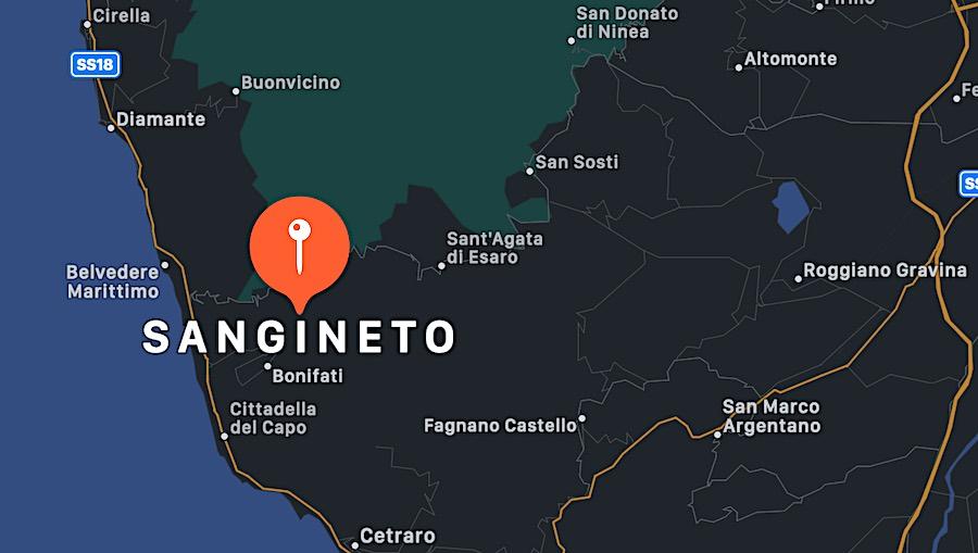 Cosa vedere a Sangineto, mappa