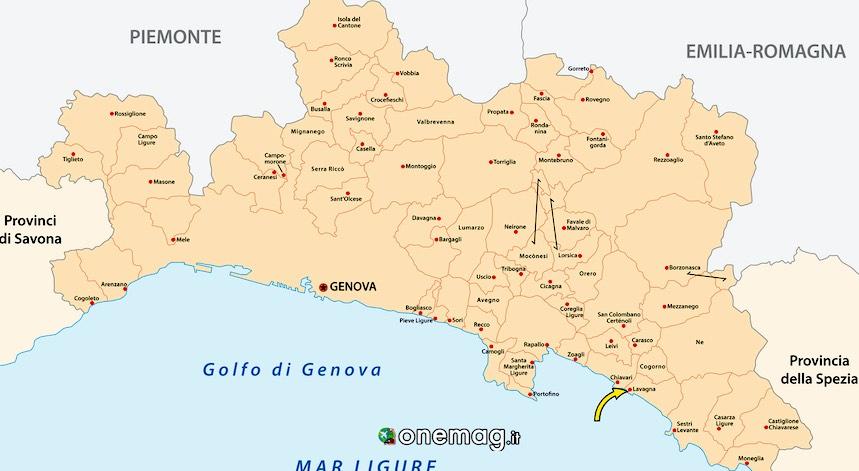 Cosa vedere a Lavagna, mappa