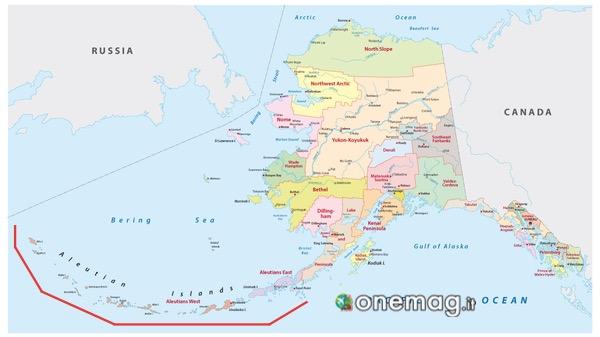 Cosa vedere alle Isole Auletine, Alaska, mappa