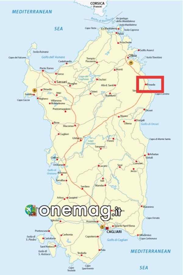 Mappa di Posada