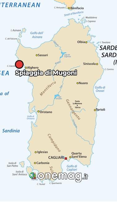 Mappa della spiaggia di Mugoni, Alghero