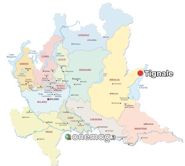 Mappa di Tignale, sul Lago di Garda
