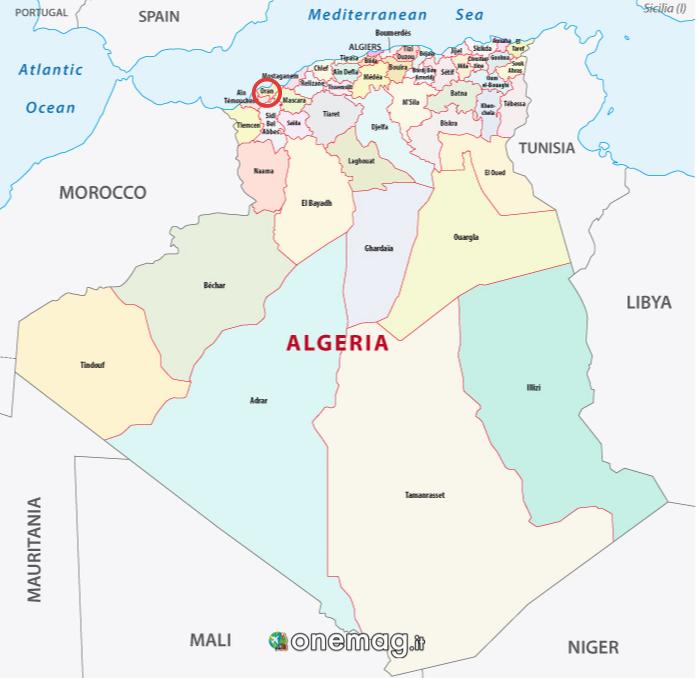 Mappa di Orano, Algeria