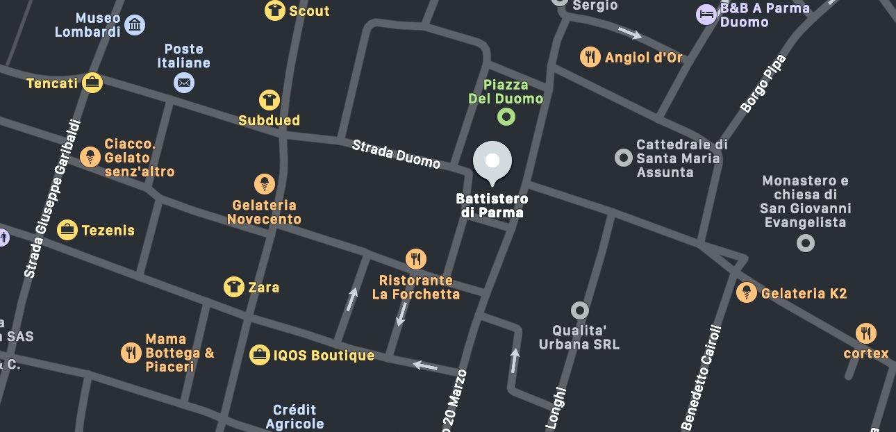 Il Battistero di Parma, mappa