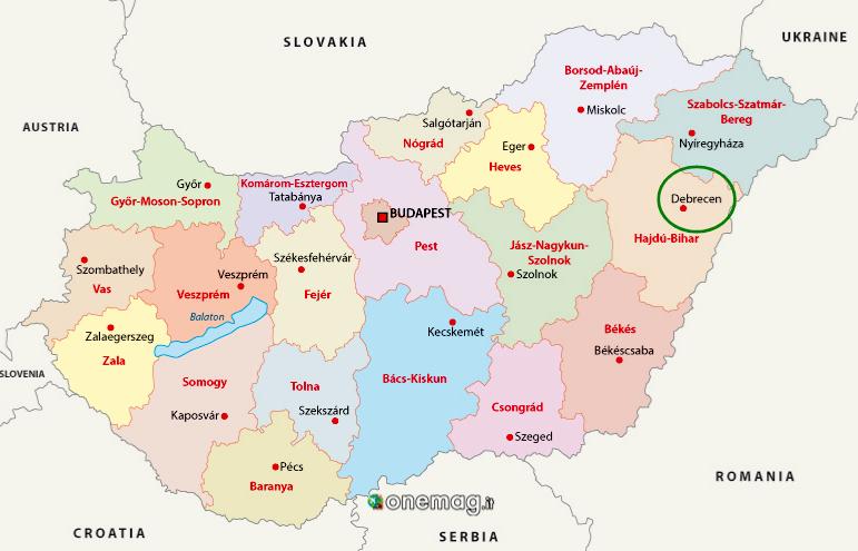 Cosa vedere a Debrecen, mappa