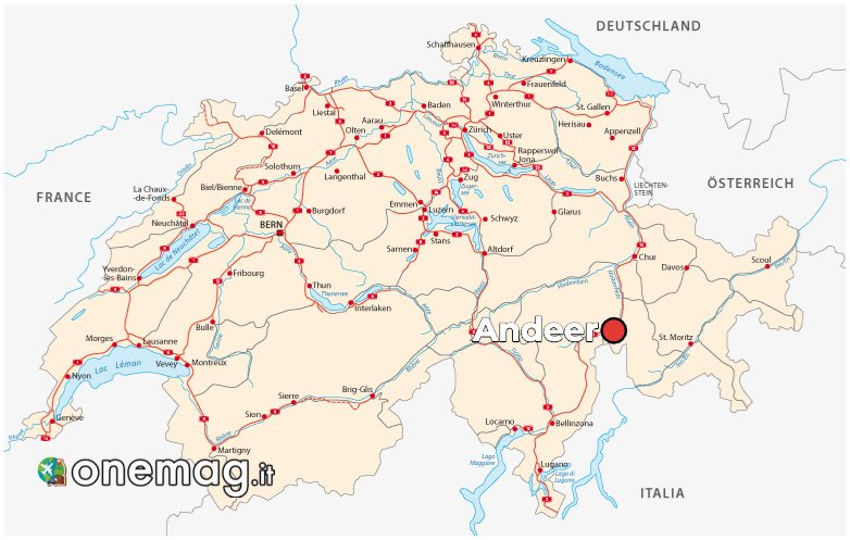 Cosa vedere ad Andeer, mappa