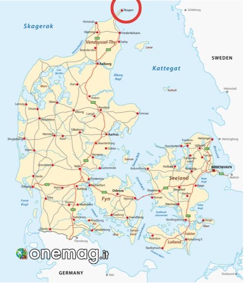Mappa di Skagen, Danimarca