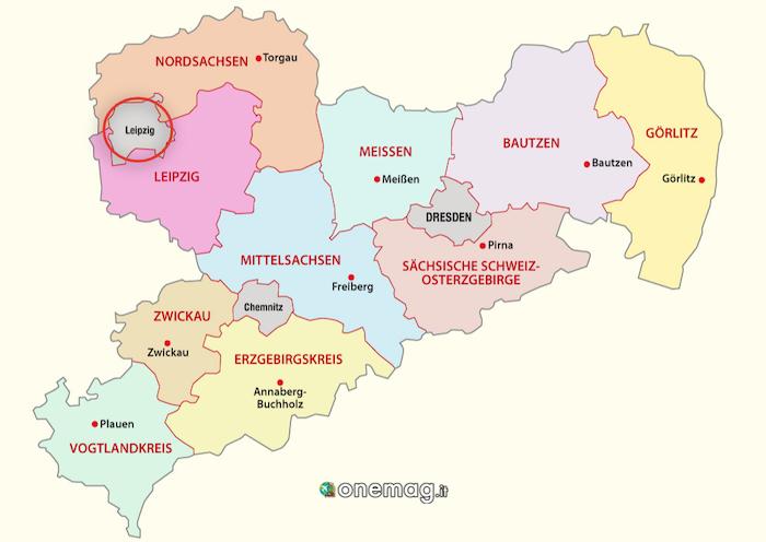 Cosa vedere a Lipsia, mappa