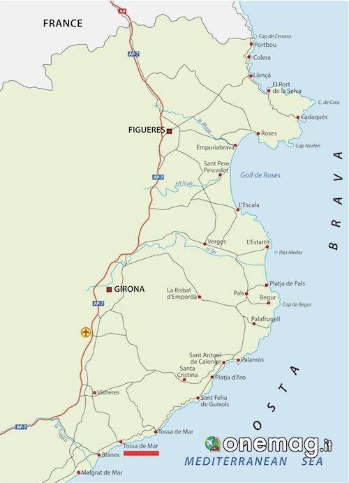 Mappa di Tossa de Mar