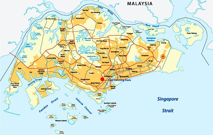 Mappa di Fort Canning Park di Singapore