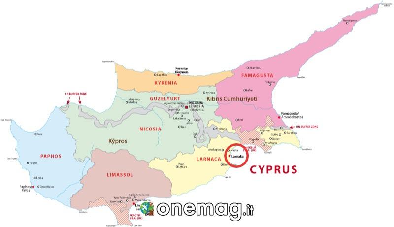 Cosa vedere a Larnaca, mappa