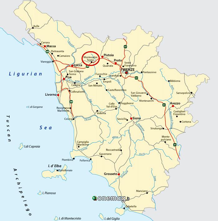 Cosa vedere a Montecatini Terme, mappa