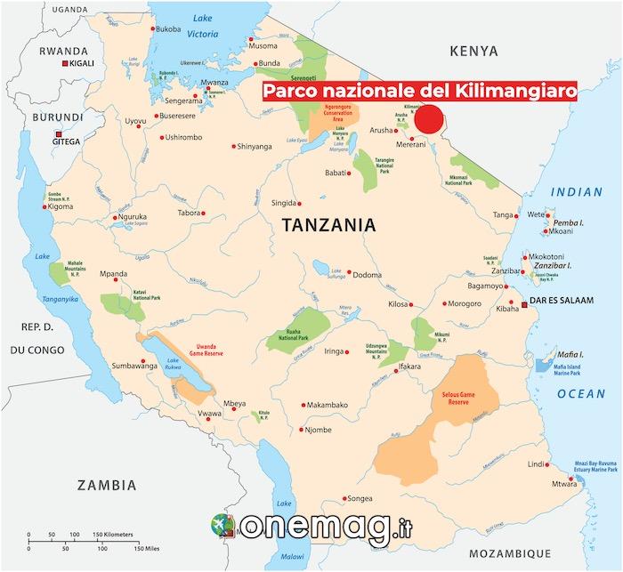 Mappa del Parco nazionale del Kilimangiaro