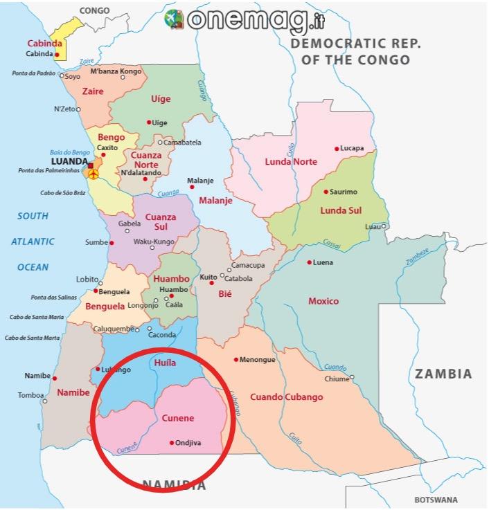 Mappa di Cunene, Angola