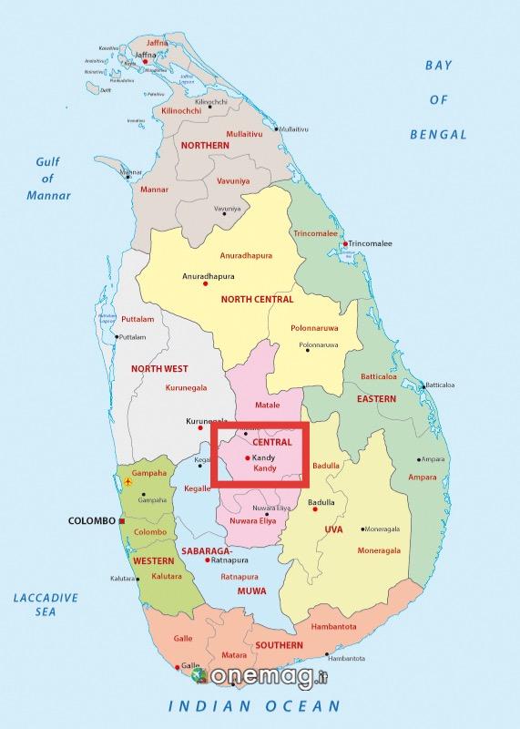 Cosa vedere a Kandy, Mappa