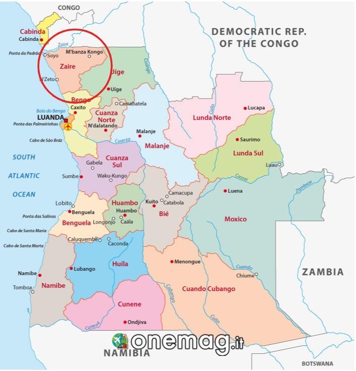 Mappa provincia dello Zaire in Angola