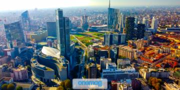 Vista aerea dello skyline della città di Milano