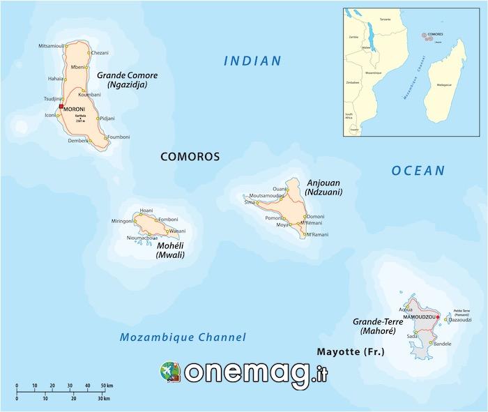 Mappa delle Isole Comore