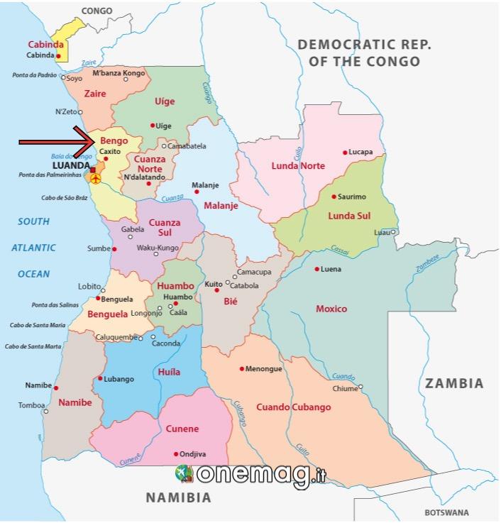 Cosa vedere nel Bengo, Angola, mappa