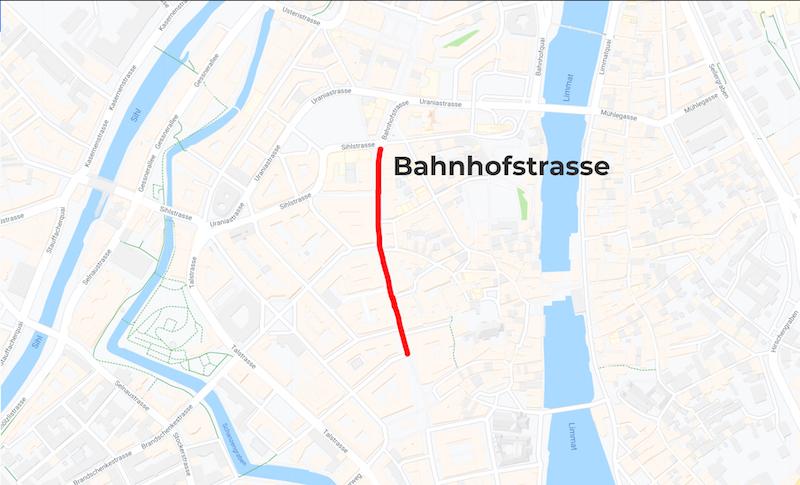 Bahnhofstrasse Mappa Zurigo