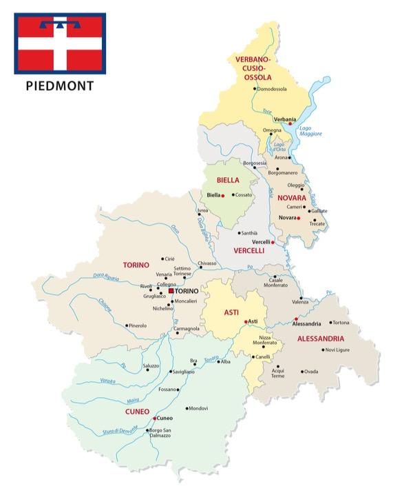 Mappa del Piemonte