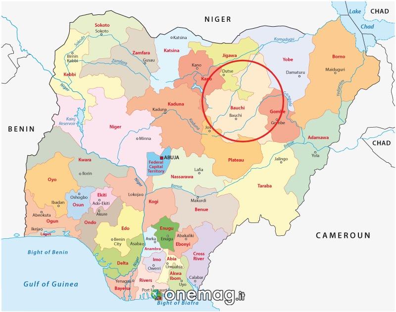 Mappa dello stato di Bauci, Nigeria