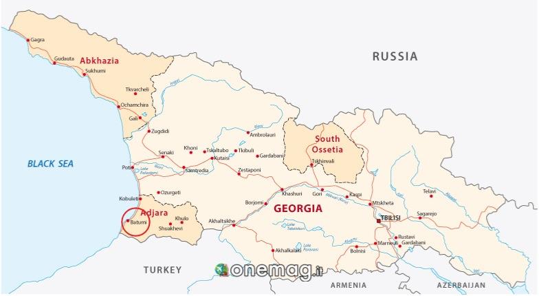 Mappa di Batumi in Georgia