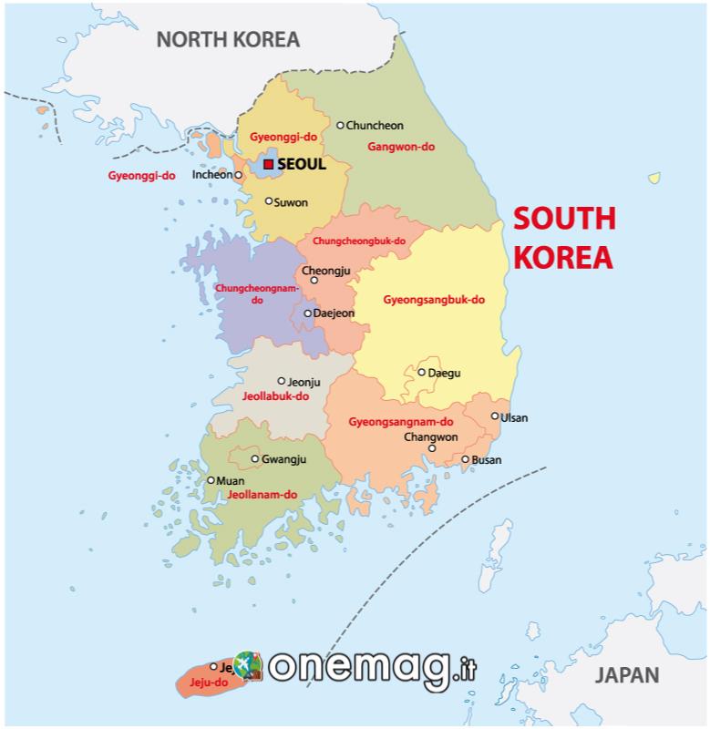 Mappa di Seul in Corea del Sud