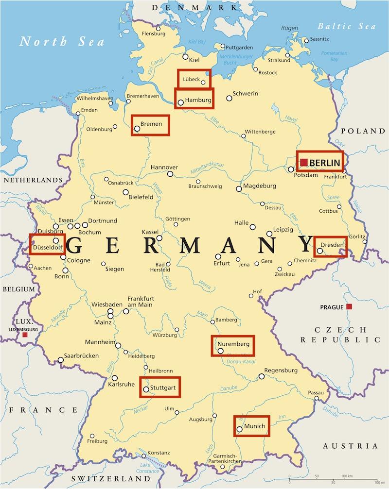 Mappa delle 10 città piu belle della germania