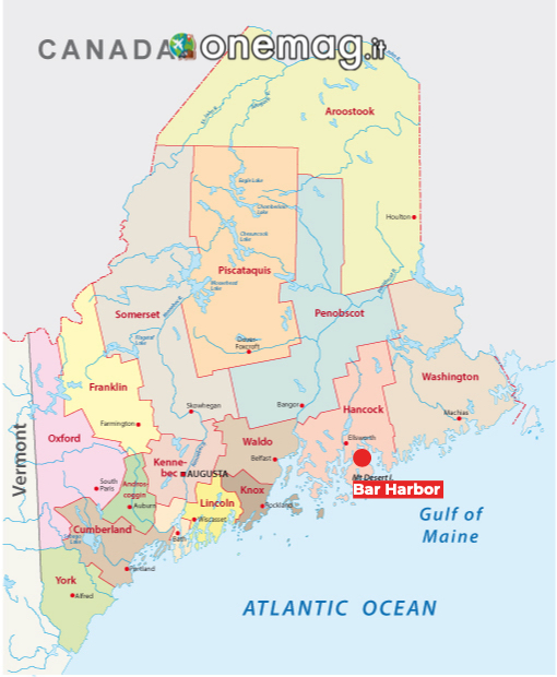 Cosa vedere a Bar Harbor, mappa