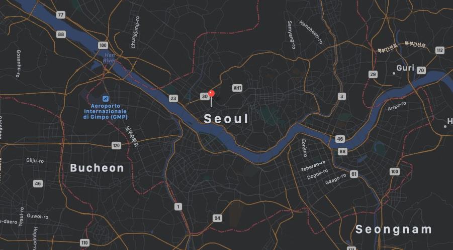 Mappa Quartiere Hongdae di Seul