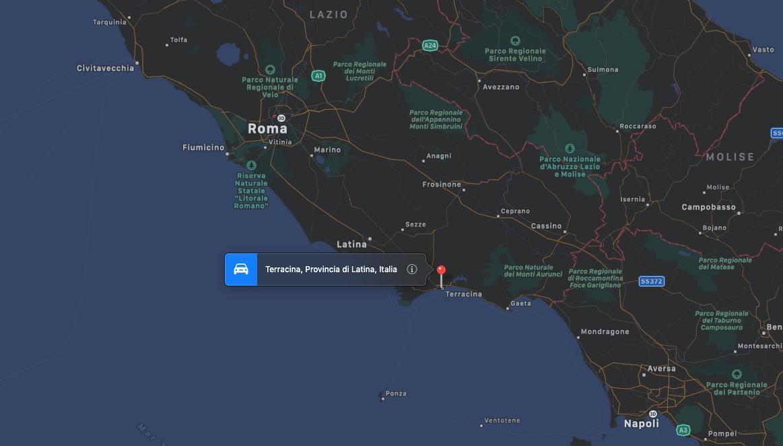 Mappa di Terracina, in provincia di Latina