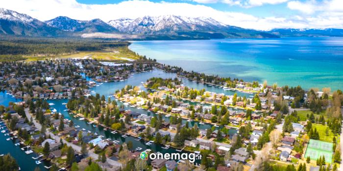 Panorama aereo su South Lake Tahoe