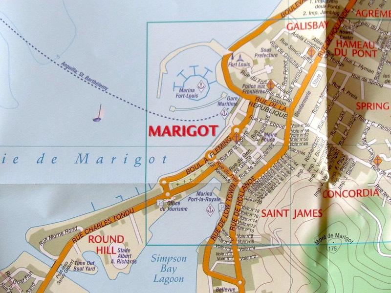 Mappa cartacea di Marigot, Saint-Martin
