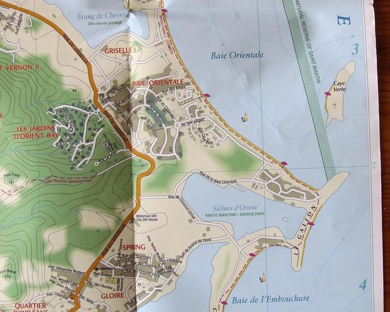 Mappa cartacea di Orient Bay, Saint-Martin