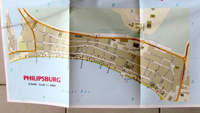 Mappa cartacea di Philipsburg, Sint Maarten
