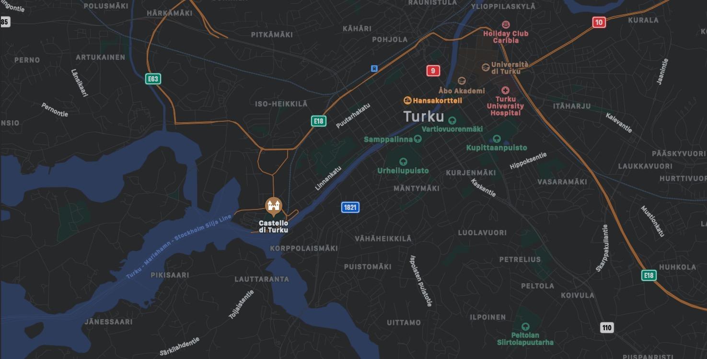 Mappa del Castello di Turku