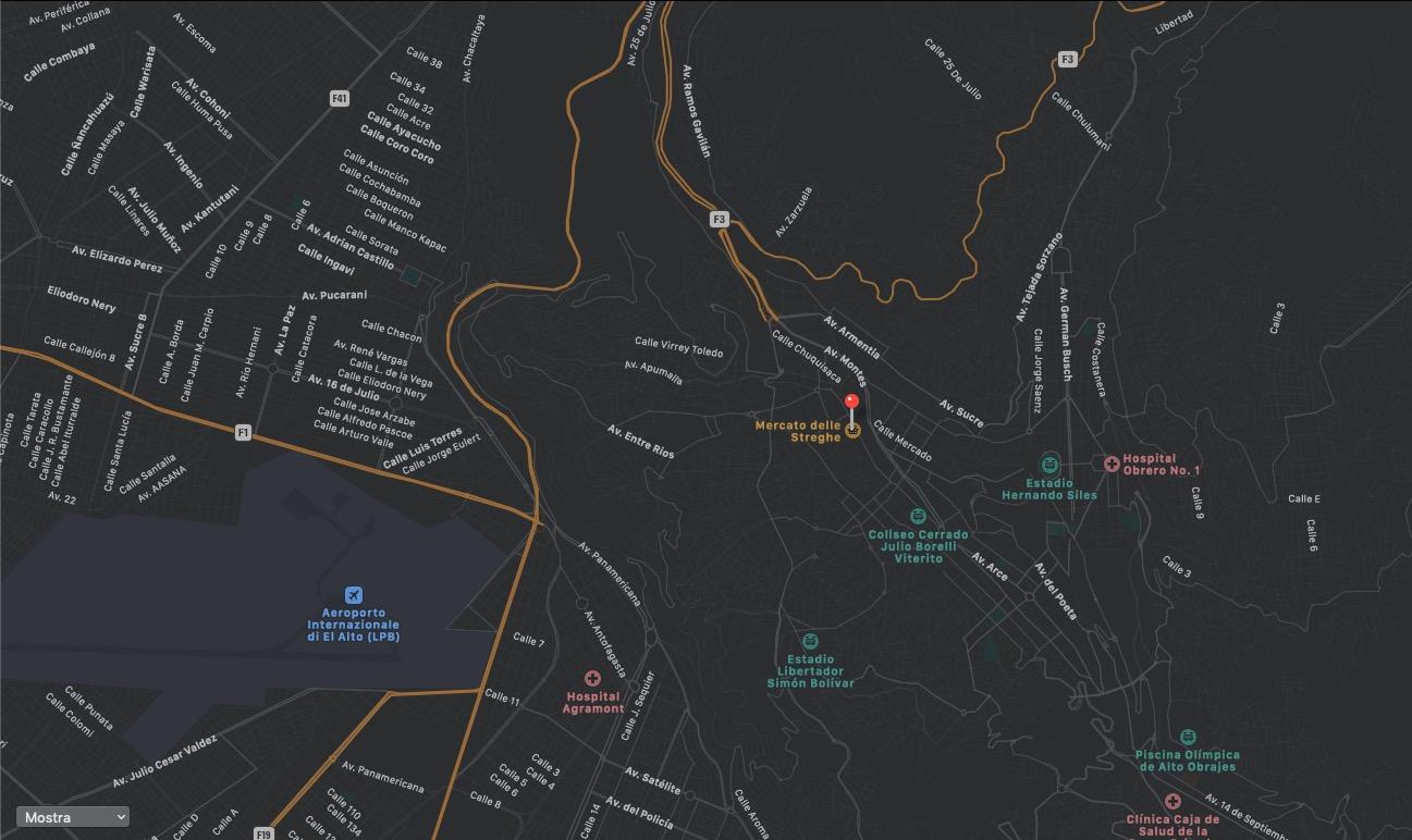 Mappa del Mercato delle Streghe a La Paz